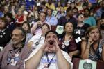 Supporter for former Democratic Presidential candidate, Sen. Bernie Sanders, I-Vt., John Stanley from DeForest Wis., reacts during the first day of the Democratic National Convention in Philadelphia , Monday, July 25, 2016. (AP Photo/John Locher)